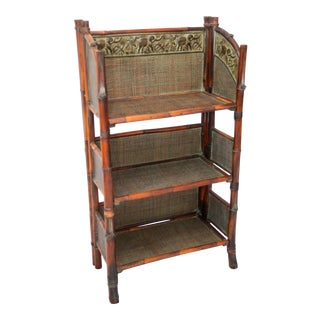 Vintage Bamboo Folding Bookcase Shelves For Sale