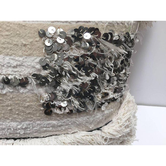 Islamic Moroccan Wedding Pillow With Silver Sequins and Long Fringes For Sale - Image 3 of 10