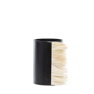 Small Black Leather Vase With Cream Horse Hair, Round Shaped, Decorative Home Decor, Glass Inserted, Modern Look For Sale