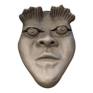 Vintage Clay Art Face Sculpture For Sale