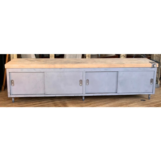 Vintage Industrial Steel Cabinet With Butcher Block Top For Sale - Image 10 of 10