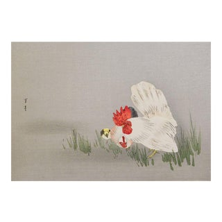 Seitei Japanese Rooster Woodblock Print For Sale