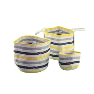 Pasargad Yellow and Blue Striped Nested Baskets-Set Of 3 For Sale