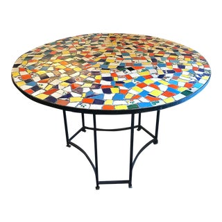 "Boho Chic Broken Tile or ""Pique Assiette"" Iron Frame Table For Sale"