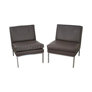 Milo Baughman for Thayer Coggin Chrome Frame Lounge Chairs- A Pair For Sale