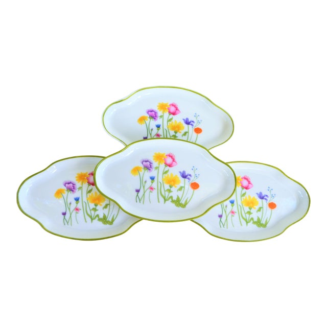 Floral Vintage and French Limoges Small Plates - Set of 4 For Sale