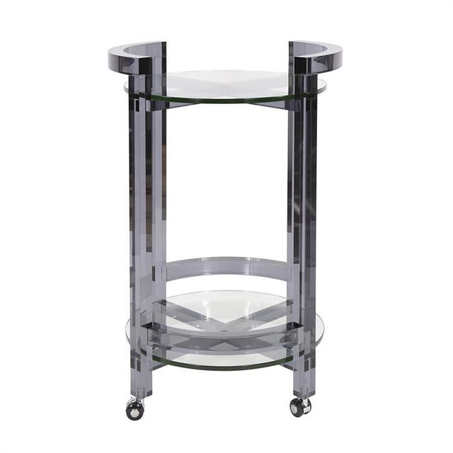 Gray Smoked Acrylic Bar Cart from Kenneth Ludwig Chicago For Sale - Image 8 of 8