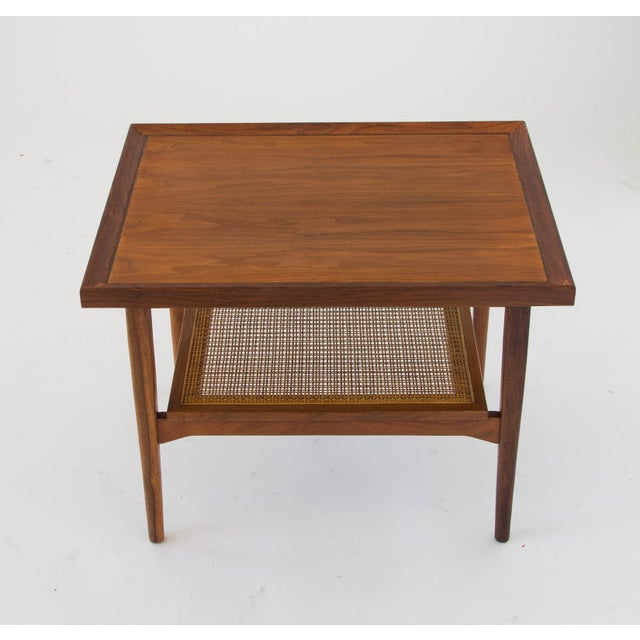 1960s Drexel Declaration Side Table with Cane Shelf For Sale - Image 5 of 8