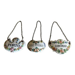 Three Antique French Hand Painted Porcelain Decanter Liquor Tags - Set of 3 For Sale