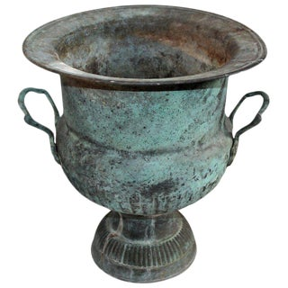 19th Century Patinated Copper Urn With Handles For Sale