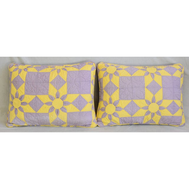Pair of custom-tailored reversible pillows created from a 1940's American hand stitched/quilted patchwork blanket...