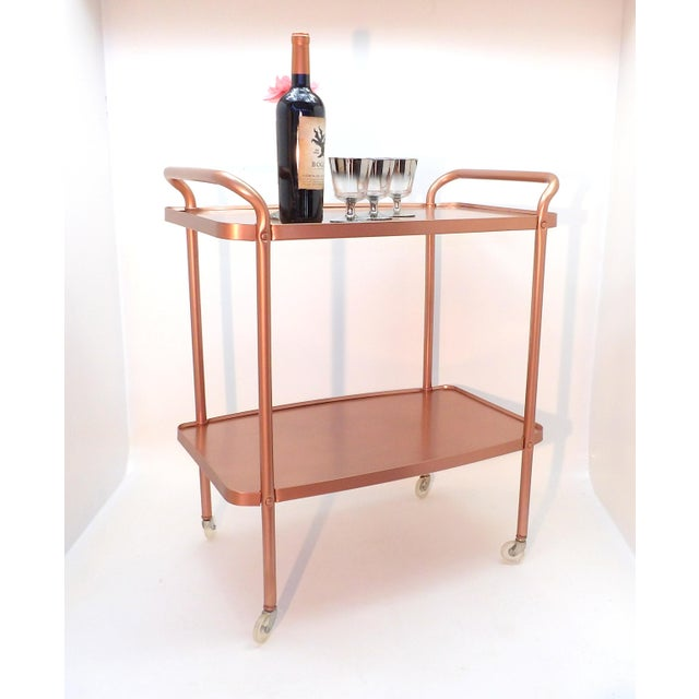 Pink Mid-Century Modern Rose Gold Rolling Bar Cart For Sale - Image 8 of 10