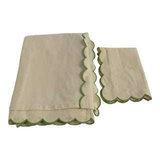 Full Ivory Pique Coverlet & Boudoir Sham With Scallop Flange and Accent For Sale