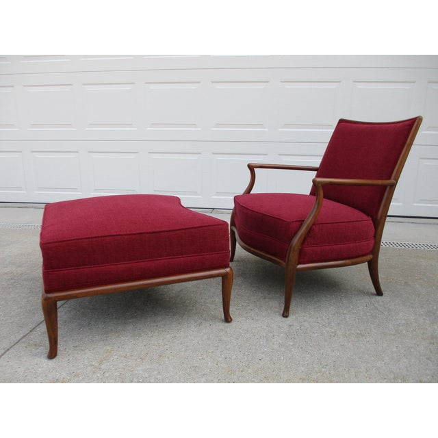 Robsjohn Gibbings for Widdicomb French Style Lounge Chair and Ottoman For Sale - Image 12 of 12