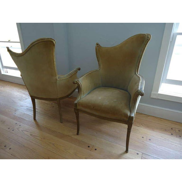 French Art Deco Velvet Armchairs - a Pair For Sale - Image 4 of 10