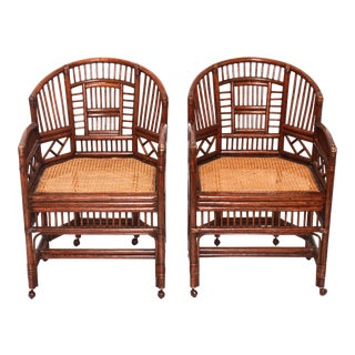 Rattan Chinoiserie Fretwork Armchairs- a Pair For Sale