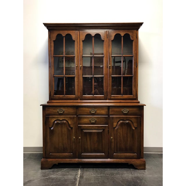 Two piece hutch by high-quality furniture maker Statton. Made in the USA. - Statton Oxford Antique Cherry China Cabinet Hutch Chairish