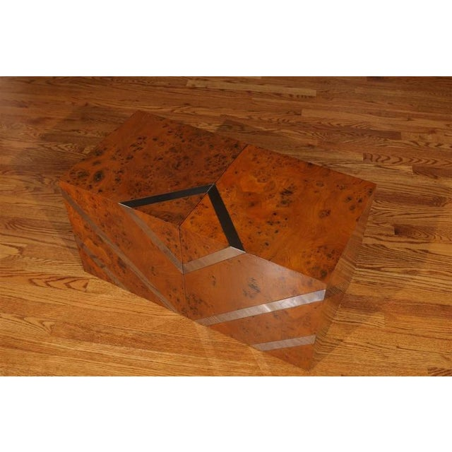 Brown Restored Pair of Olivewood and Nickel Cubes For Sale - Image 8 of 11