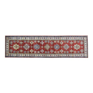 Hand-Knotted Red Super Kazak Runner- 2′9″ × 10′5″ For Sale