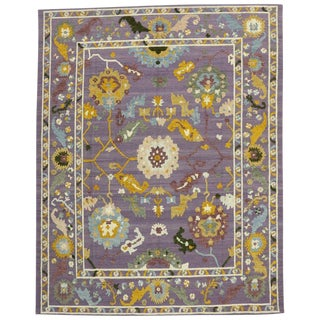 Geometric Oushak High and Low Texture Rug- 10′5″ × 13′2″ For Sale