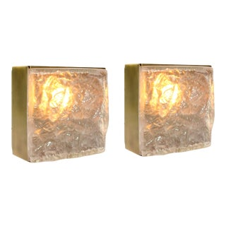 """Thick Ice Glass Antique Brass Finished """"Cube"""" Wall Sconces - a Pair For Sale"""