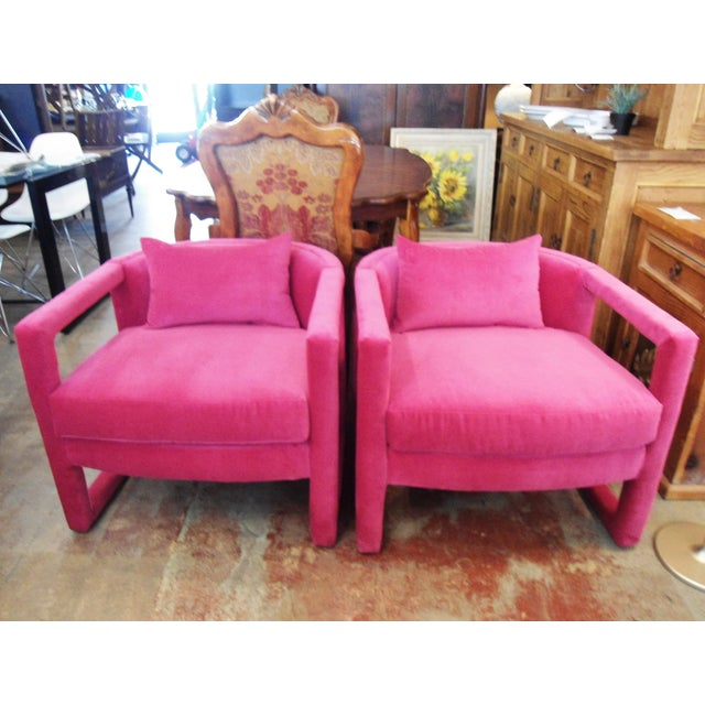 Fuchsia Velvet Accent Chairs - A Pair | Chairish