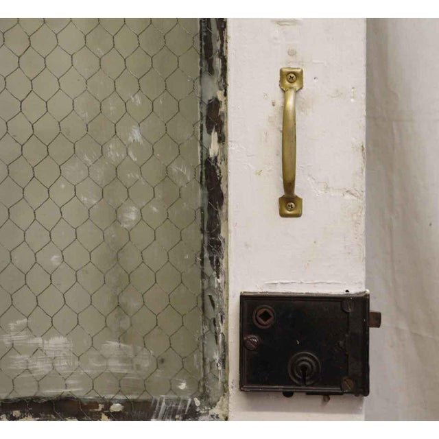 Tall White Door With Two Chicken Wire Glass Panels - Image 4 of 4