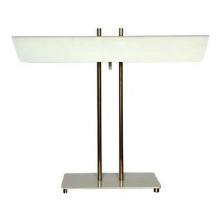 1970s Vintage Mid Century Modern White Brass Banker Desk Table Lamp Thurston Laurel 1970s For Sale