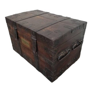 19th Century Iron Bound Cargo Trunk For Sale