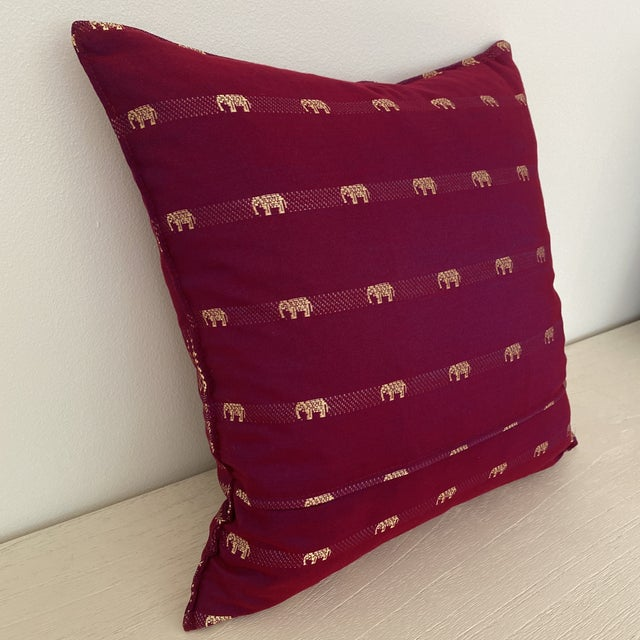 Silk Magenta Thai Silk Pillow With Elephant Motifs For Sale - Image 7 of 12