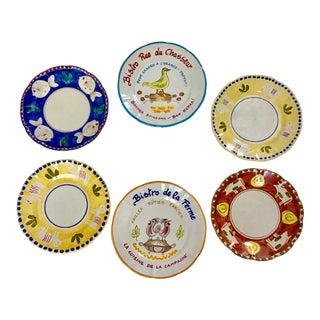 1980s Vintage Vietri Handpainted Plates- Set of 6 For Sale