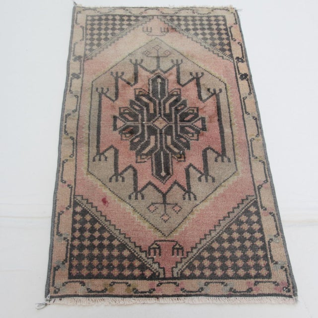 1960s Vintage Turkish Handmade Rug - 1′7″ × 2′9″ For Sale - Image 11 of 11