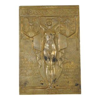 1930 Art Deco Detroit Ambassador Bridge Bronze Paperweight Jonathan Swanson For Sale