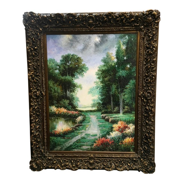 Large Impressionist Style Landscape Oil Painting - Image 1 of 7