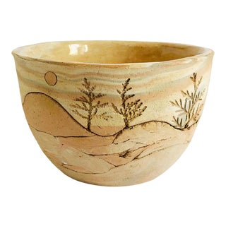 Vintage Carved Landscape Planter For Sale
