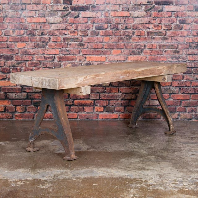 Green 1920s Rustic Wood Console Table With Industrial Cast Iron Legs For Sale - Image 8 of 8