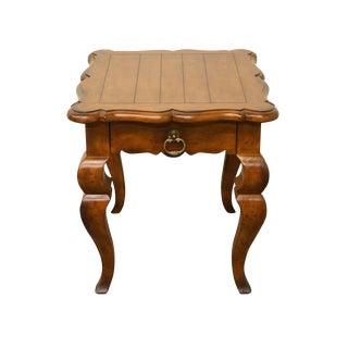 Late 20th Century Vintage Hickory White Italian Provincial Fruitwood End Table For Sale
