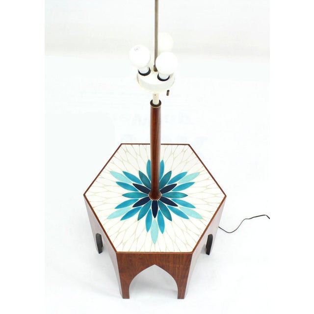 Mid-Century Modern Harvey Probber Tile and Oiled Walnut Floor Lamp Side Table For Sale - Image 3 of 7