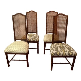 Henredon Faux Bamboo Dining Chairs - Set of 4