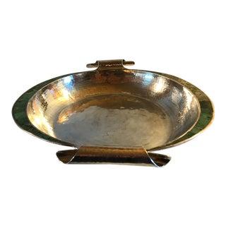 1980s Emilia Castillo Silver Centerpiece Bowl,Malachite Inlay For Sale