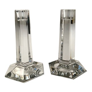 Frank Lloyd Wright Tall Crystal Candlesticks - a Pair For Sale