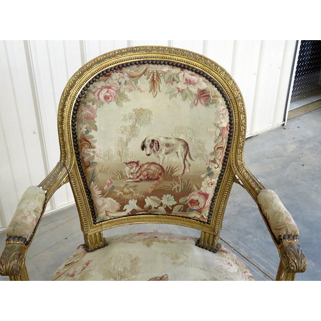 Early 20th Century Pair of French Louis XVI Style Needlepoint Fauteuils For Sale - Image 5 of 11