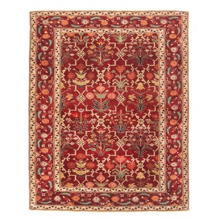 Agra Design Inspired Transitional Red and Beige Wool Rug - 5′10″ × 7′3″ For Sale