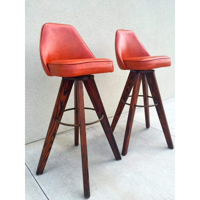 Mid-Century Modern Barstools in Orange - A Pair - Image 3 of 11