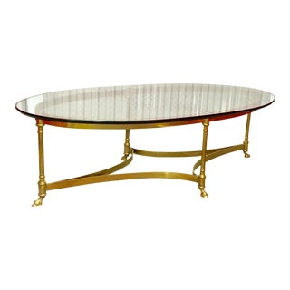 La Barge Mid Century Oval Brass and Glass Coffee Table With Hoof Detailed Feet For Sale