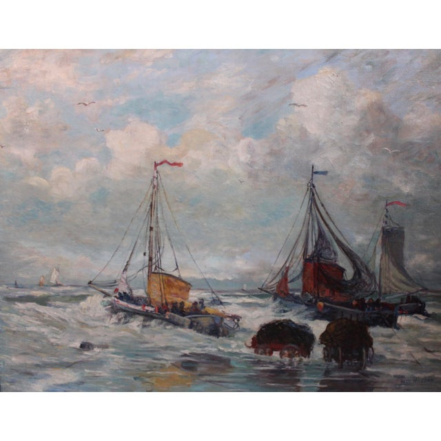 Nautical Antique Harbor with Boats Painting For Sale - Image 3 of 6