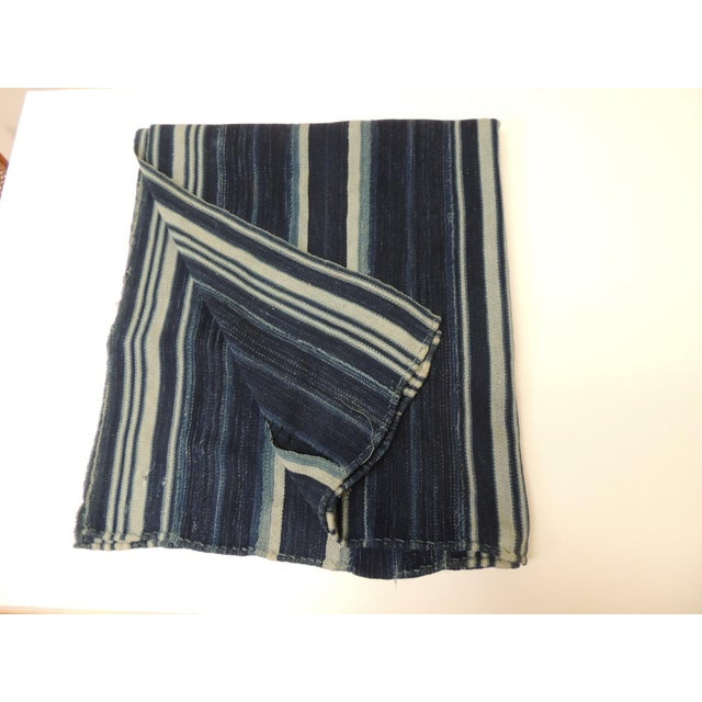 1970s Vintage Yoruba and Baule Warp Ikat Indigo and Light Blue Stripes Cloth For Sale - Image 5 of 5