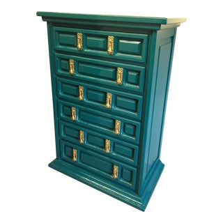 1970s Mid-Century Modern United Furniture Jade Green Lacquered High Boy Dresser For Sale
