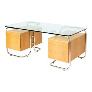 Pace Collection Desk With Tubular Frame and Glass Top For Sale