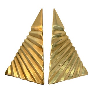 Vintage Triangular Brass Bookends For Sale